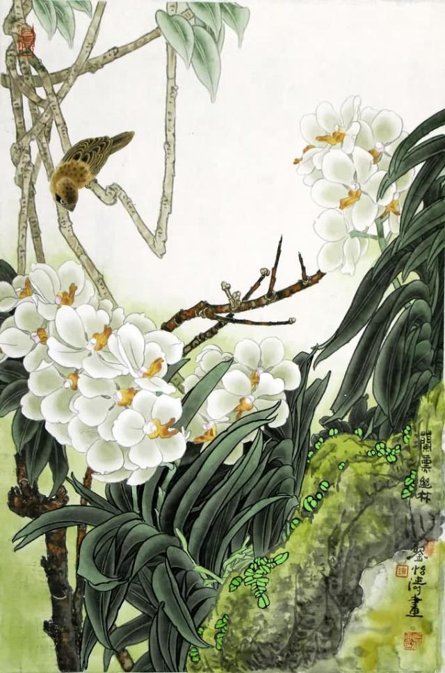 按工笔画传统,这可谓是一幅完整的画面.可刘怡涛没有停止在那里.