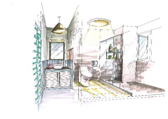 卫生间手绘效果图卫生间推拉门 - 动手网