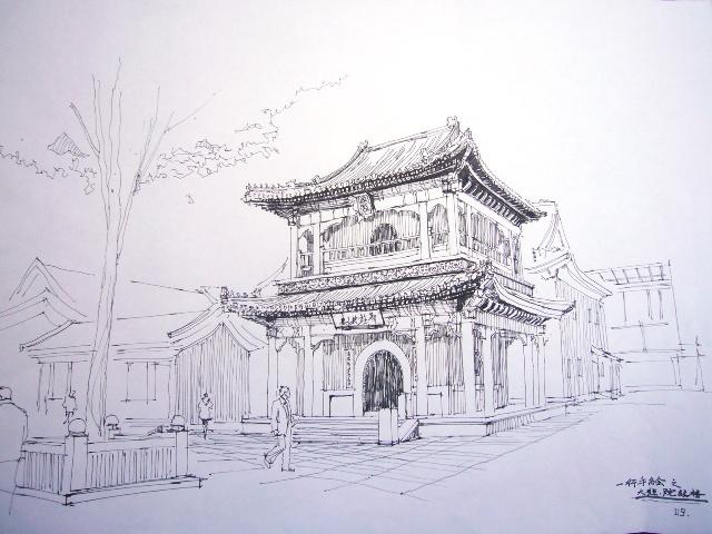 天津建筑手绘 大悲禅院 (一) 经楼