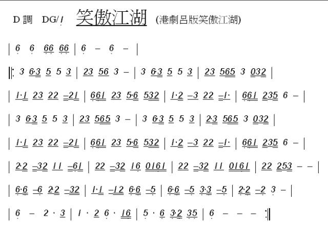 这个曲谱就是吕颂贤主演的港版《笑傲江湖》中的