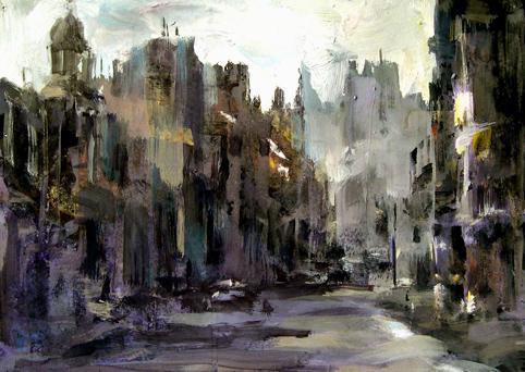 黑卡纸画就的水粉《街景》            我的画《窗前的