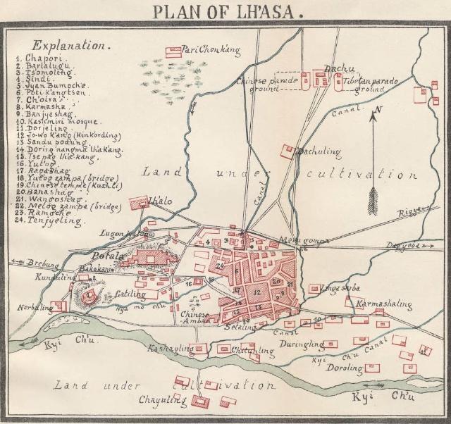 1891年的拉萨市区地图