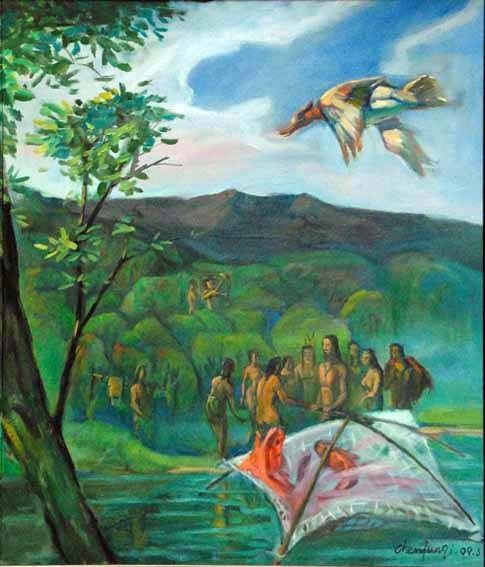3,授网之道:伏羲将结网方法传授于百姓,从此人们懂得了结网打渔,围猎图片