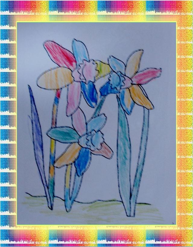 公鸡手绘彩铅画