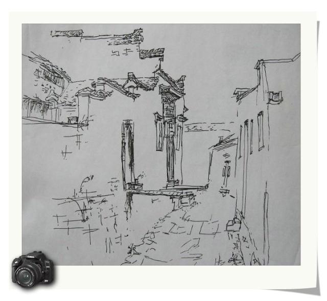 老房子风景钢笔速写