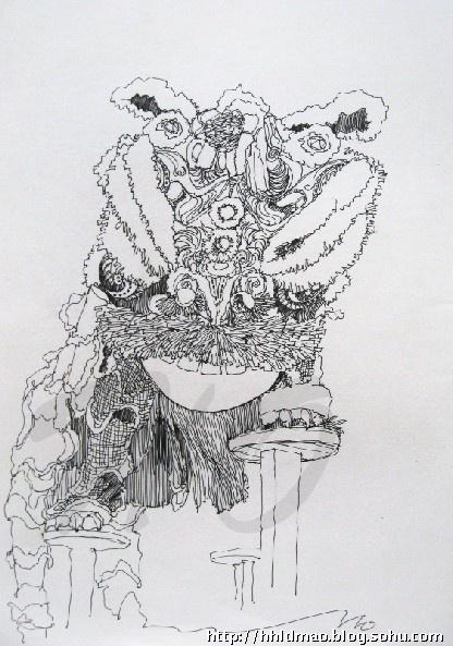 舞狮子画画图片