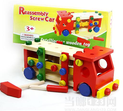 及木制动物玩具,推拉玩具